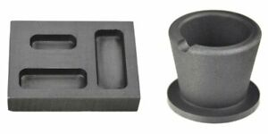 14 12 1 oz Gold Graphite Ingot Mold - 10 oz Graphite Crucible Cup Melting Set