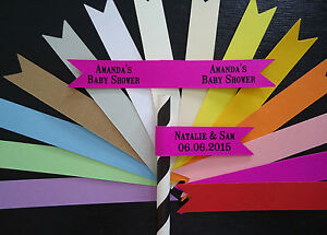 20 Paper Straw Flags Tags PERSONALISED Wedding Christening Baby Shower Birthday