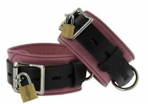 Genuine Leather DELUXE Locking Ankle Cuffs Bracelets Lockable Gothic BLACK PINK $55.90