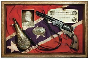C.S. COLT M1851 REVOLVER AND FLASK SHADOW BOX