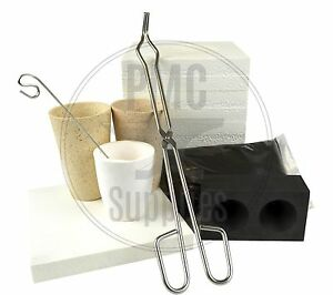 Microwave Gold Smelting Kiln Kit with Graphite Ingot Mold Crucibles Flux