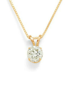 1 Carat Round Solitaire Pendant Necklace Box Chain Solid 14k Real Yellow Gold