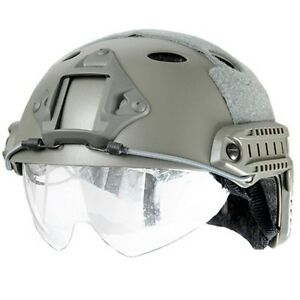 Lancer Tactical Airsoft FAST Helmet with Retractable Visor Shield Foliage Green