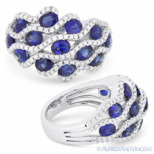 3.22 ct Oval Cut Sapphire & Diamond Pave 14k White Gold Right-Hand Fashion Ring
