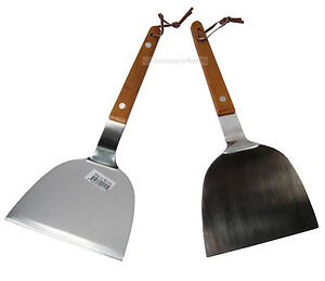 2Pc Stainless Steel Grill Griddle Scraper Grilling BBQ Turner Spatula Set