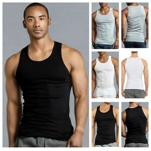 3 6 PACK Men Tank Top T Shirt Cotton A Shirt Wife Beater Ribbed GYM Undershirt $18.99