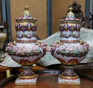 amazing pair of painted large handled lidded