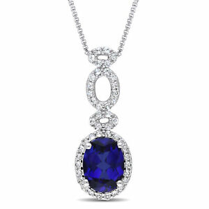 Sterling Silver 2 12 CT TGW Blue and White Sapphire Pendant Necklace 18