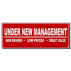 Under New Management Red Business Vinyl Banner Sign W Grommets 2 ft x 4 ft $29.99