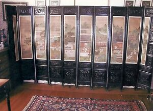 Finely Carved Suanzhi Wood Folding Screen with Paintings of Court Scenes