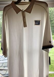 NWT NIKE NEW YORK NY GIANTS FOOTBALL DRI FIT POLO SHIRT WHITE 2XLT TALL ON FIELD