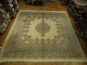 Quality Wool SQUARE 11'-12' Persian Kerman Rug DURABLE THICK SOFT RUG