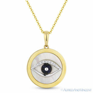 Mother-of-Pearl Sapphire Diamond Evil Eye Charm Pendant 14k Yellow Gold Necklace
