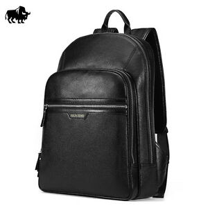 BISON DENIM Genuine Leather Men Fashion Travel Backpack Casual Black