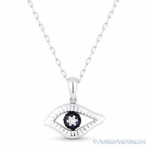 0.15ct Sapphire Diamond Evil Eye Turkish Nazar Greek Luck Charm Pendant 14k Gold