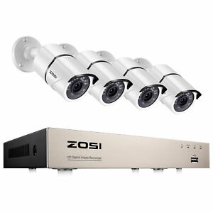 ZOSI 1080p 8CH DVR Outdoor Security System with 4 2MP Night Vision Bullet Camera