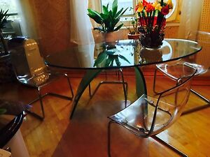 ITALIAN DESIGNER GLASS FURNITURE dining room table 4 lucite chairs wall unit