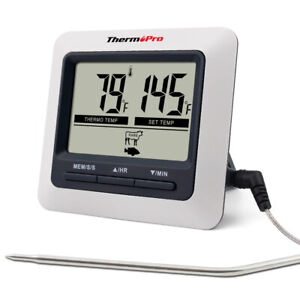 ThermoPro Digital Meat Cooking Thermometer amp; Timer Alarm for BBQ Food Oven Grill