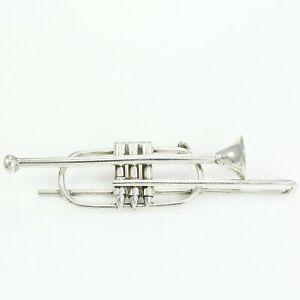 VINTAGE Sterling Silver Trombone Pin Brooch Marching Band Music Instrument 22.7g
