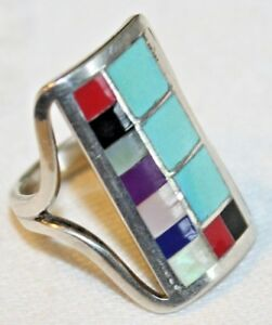 ZUNI 925 STERLING TURQUOISE CORAL MOP LAPIS INLAY RING SIGNED R LATONE SZ 6.5 $71.10