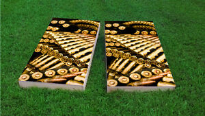 Rifle Bullets Ammo Themed 1x4 Custom Cornhole  Corn Hole Board Set wBags