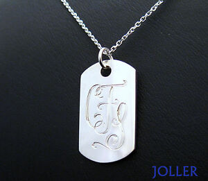 MEDIUM OR LARGE NAME TAG NECKLACE HAND ENGRAVED MILITARY SOLID SILVER 925 JOLLER