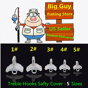 100 pcs Fishing Treble Hooks Safty Protector Cover 5 different size $11.95