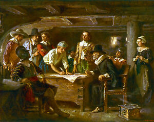 The Mayflower Compact US History Religious Pilgrims Painting Real Canvas Print $13.29