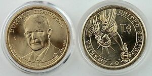 2015 P&D $1 Dwight Eisenhower Presidential Dollar 2 coin Uncirculated, Capsules