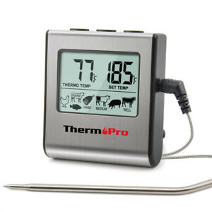 Digital Cooking Meat Thermometer Clock Timer Food Steak Oven Smoker BBQ Grill