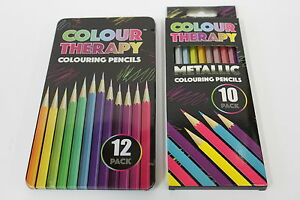 12 COLOURING & 10 METALLIC COLOUR THERAPY RICH SMOOTH QUALITY ARTIST PENCIL SETS