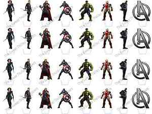32 Marvel Avengers Superhero Stand Up Edible Rice Wafer Paper Cupcake Toppers GBP 1.89