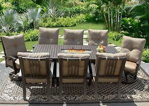 9 PC CAST ALUMINUM BARBADOS CUSHION OUTDOOR PATIO DINING SET FOR 8 PERSON ATLAS
