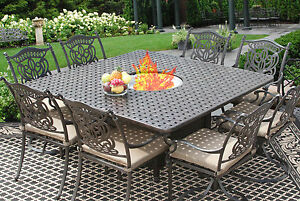 9 PC CAST ALUMINUM TUSCANA OUTDOOR PATIO DINING SET FOR 8 PERSON WITH FIRETABLE