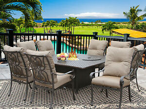 9 PC CAST ALUMINUM TORTUGA OUTDOOR PATIO DINING SET 8 PERSON WITH FIRE TABLE
