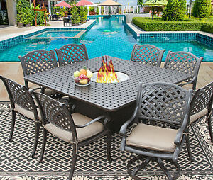 9 PC CAST ALUMINUM NASSAU OUTDOOR PATIO DINING SET FOR 8 PERSON WITH FIRETABLE