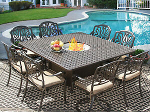 9 PC CAST ALUMINUM ELI OUTDOOR PATIO DINING SET FOR 8 PERSON WITH FIRE TABLE