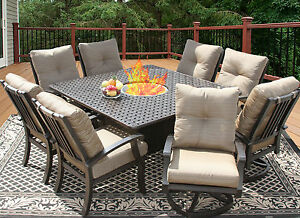 9 PC CAST ALUMINUM BARBADOS CUSHION OUTDOOR PATIO DINING SET 8 PERSON FIRE TABLE