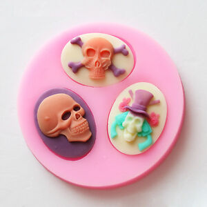Halloween Skull Silicone Sugar Craft Mold Gum Paste Cake Fondant Decorating Mold