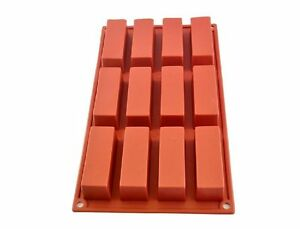 Allforhome 12 Rectangle Soap Mold Silicone Mould Candy Chocolate DIY Baking Mold $7.29