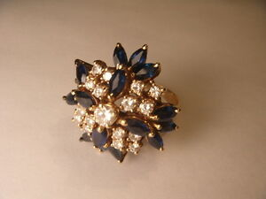 Magnificent Estate 14K Gold Marquise Sapphire Diamond Kaleidoscope Cocktail Ring