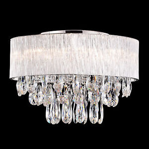 8 Bulb Round Drum Ribbed Glass Shade Ceiling Light Crystal D20