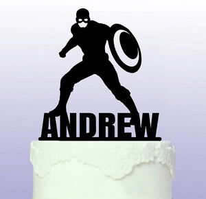 Personalised Captain America Superhero Acrylic Cake Topper