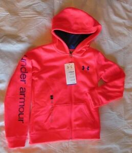 New Girls UNDER ARMOUR YMD Zip Front Hot Pink Cold Gear Hoodie NWT