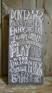 Laugh Loudly, Love Unconditionally Wood Chalkboard Style Box Sign