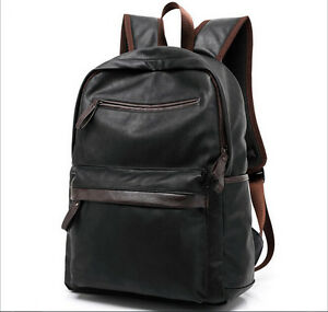 Mens Leather Hiking Backpack Rucksack Bag Laptop Travel School Bags Black Brown