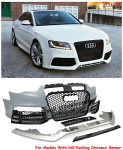 RS5 Style Front Bumper Cover With Mesh Black Grille For 13-17 Audi A5 S5 NO PDC