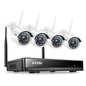 ZOSI 4CH 1080p NVR 2MP Outdoor HD Wireless IP Home Security Camera System Wifi