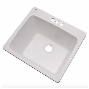 Laundry Room Utility Sink Single Bowl Drop In White 3 Hole Faucet Wash Basin New