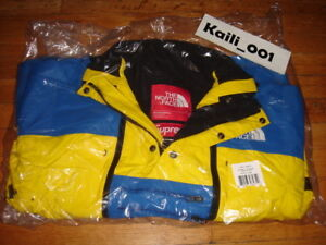Supreme The North Face Steep Tech Jacket Size Small Royal Yellow Fleece SS 16 B